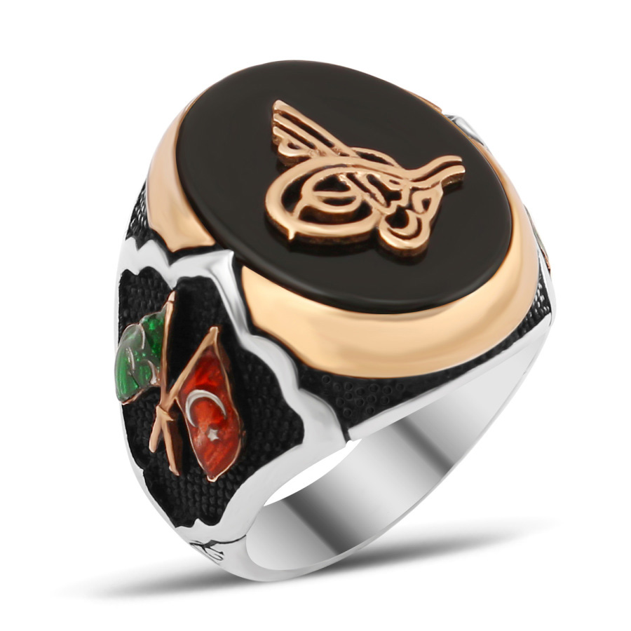 Exclusive Design Silver Men Ring With Black Aqeeq by Boutique Ottoman