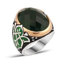 Exclusive Design Silver Men Ring With Green Zircon Stone