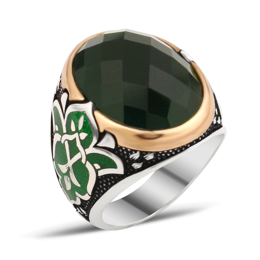 Silver Men Rings With Green Zircon Stone - Boutique Ottoman High End
