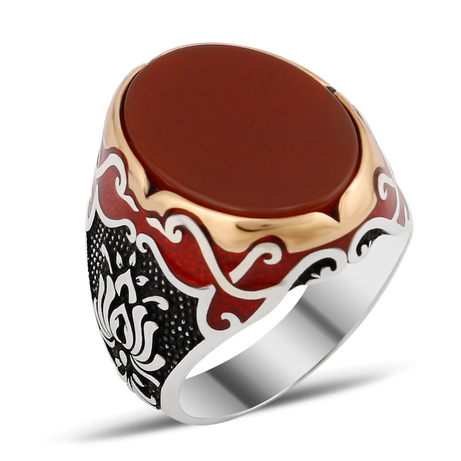 Exclusive Design Silver Men Ring With Red Aqeeq Alif - Boutique ...