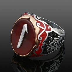 Exclusive Design Silver Men Ring With Red Aqeeq Alif