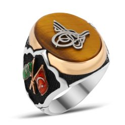 Exclusive Design Silver Men Ring With Tiger Eye Stone