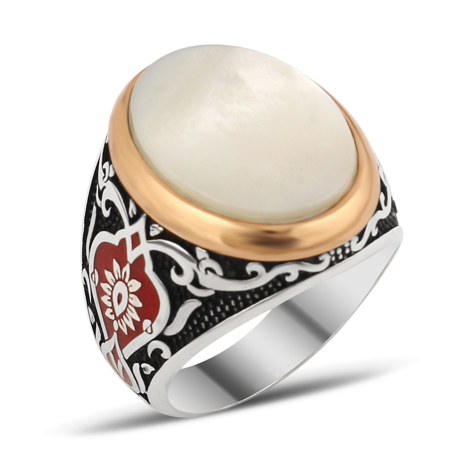Exclusive Design Silver Men Ring With White Pearl Nacre - Ottoman