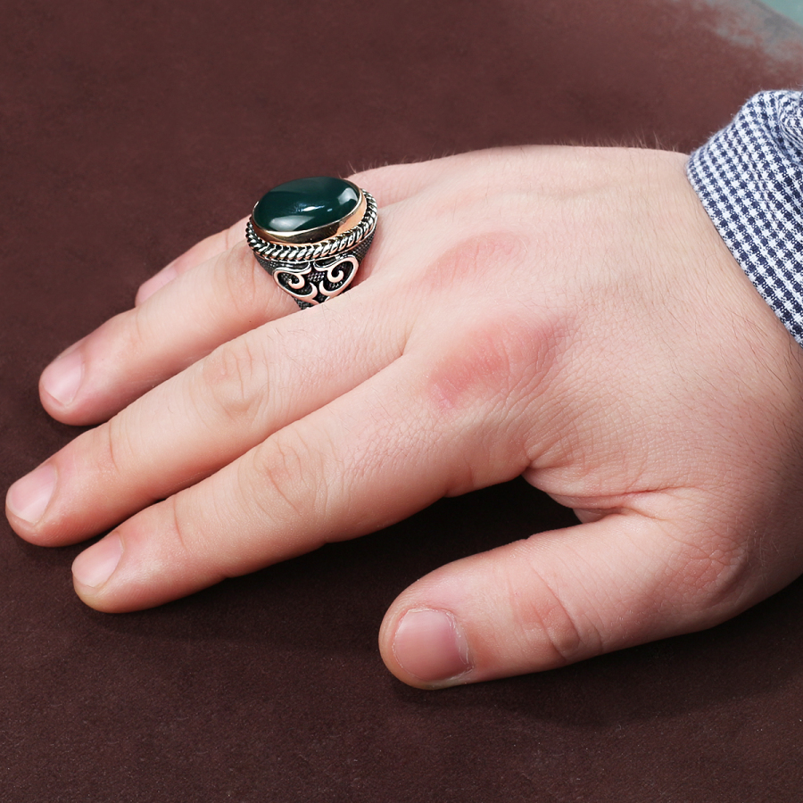 Hanedan Green Aqeeq Men Ring - Boutique Ottoman Jewelry Store