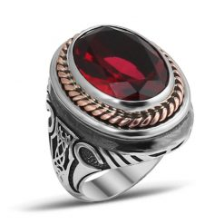 Red Garnet Stone Silver Men Ring