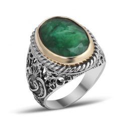 Root Emerald Silver Men Ring
