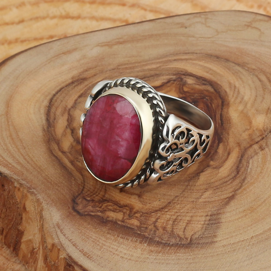 Natural Root Ruby Gemstone 925 Sterling Silver Men Ring Handmade..