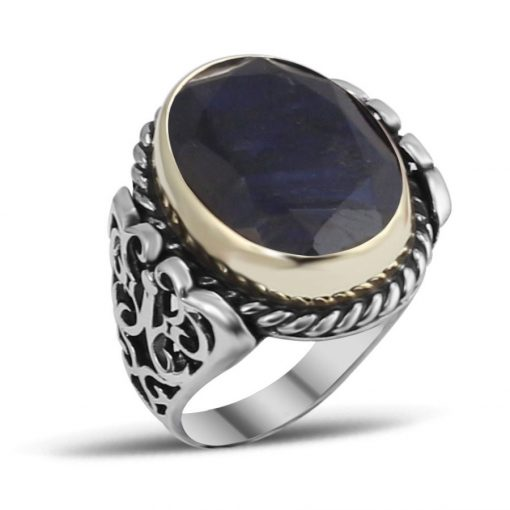 Root Sapphire Silver Men Ring