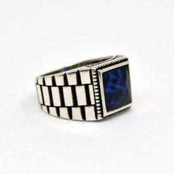 Blue-Faced-Cut-Square-Zircon-Men's-Ring