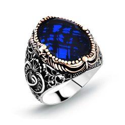 Blue Zircon Classic Silver Men Ring