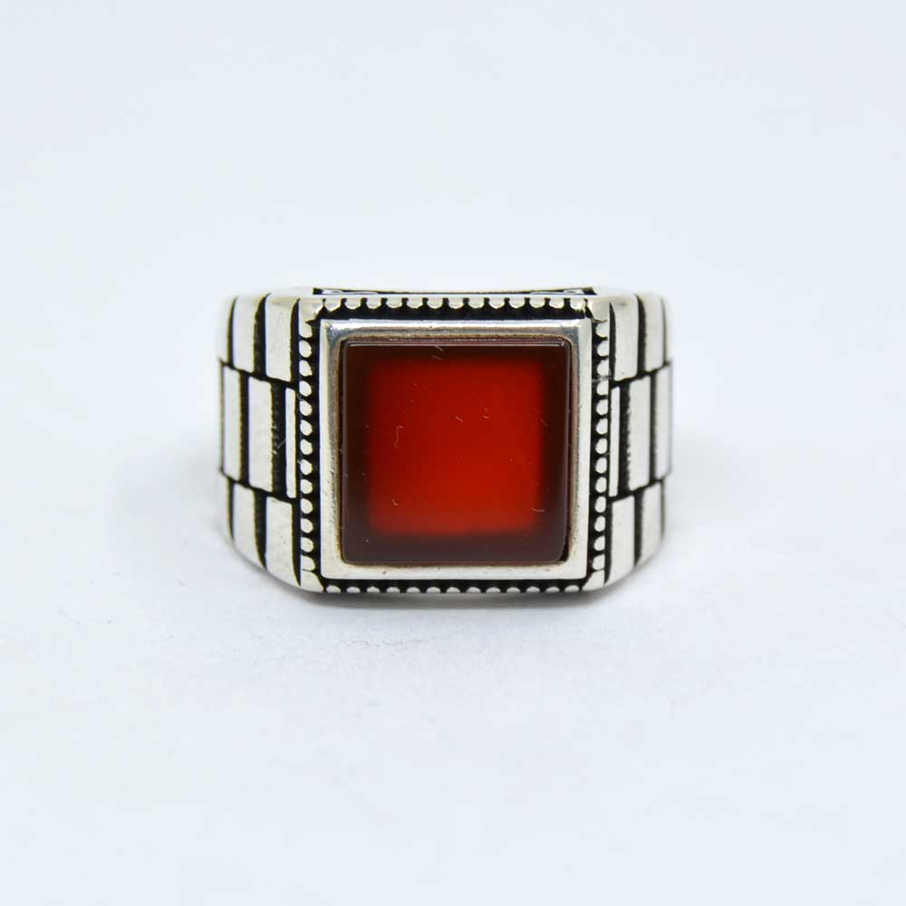 Red Aqeeq Square Silver Men's Ring - Boutique Ottoman ...