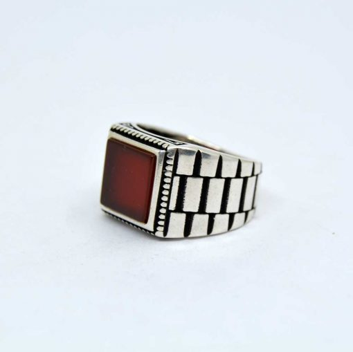 Red Aqeeq Square Silver Men's Ring