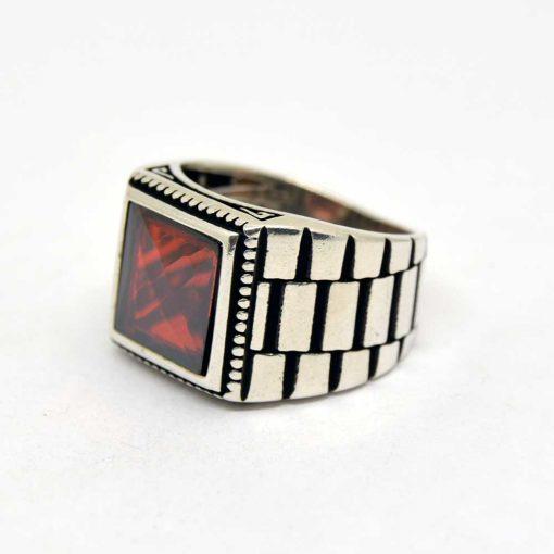 Red Faced Cut Square Zircon Men's Ring