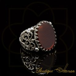Red Flat Aqeeq Hand Made Ring
