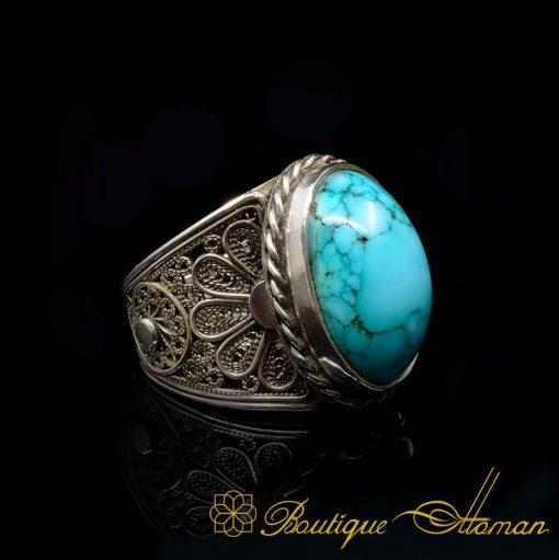 Filigree Silver Turquoise Handmade Ring