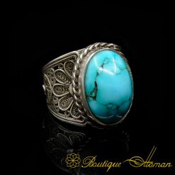 Filigree Silver Turquoise Handmade Ring