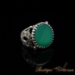 Flat Green Aqeeq Round Silver Ring