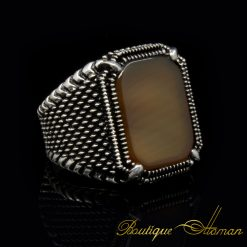 Square-Yellow-Aqeeq-Classic-Silver-Ring-2