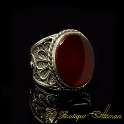 Silver Filigree Ring Liver Aqeeq Hand Made-1