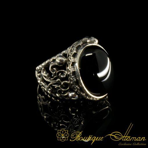 Craft-Collection-Silver-Half-Moon-Black-Aqeeq-Handicraft-Ring