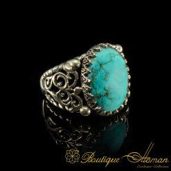 Traditional Iranian Ferooza Handmade Silver Ring
