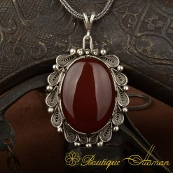 Filigree Handmade Aqeeq Silver Pendant