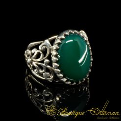 Green Aqeeq Traditional Silver Ring Original