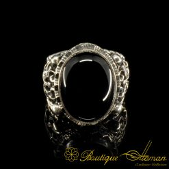 Craft Collection Silver Half Moon Black Aqeeq Handicraft Ring