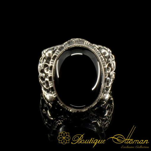 Craft Collection Silver Half Moon Black Aqeeq Handicraft Ring