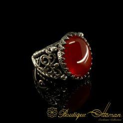 Red Liver Yemeni Aqeeq Handmade Ring
