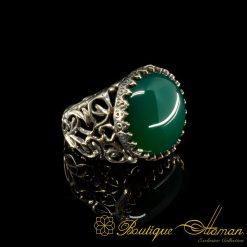 Round Green Aqeeq Hand Made Ring