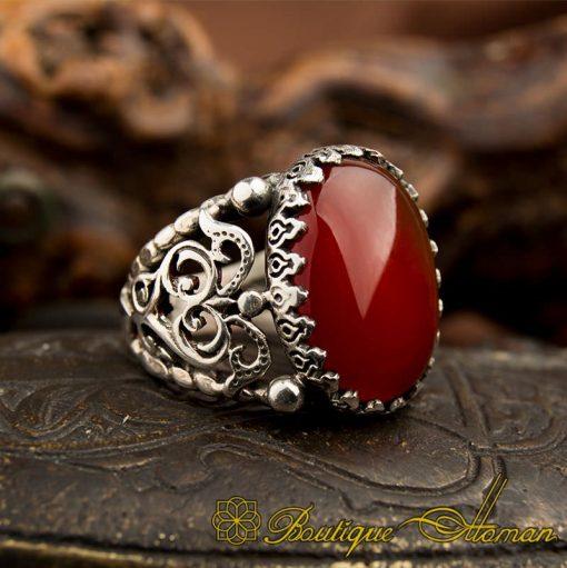 Traditional Yemeni Red Aqeeq Silver Ring-1