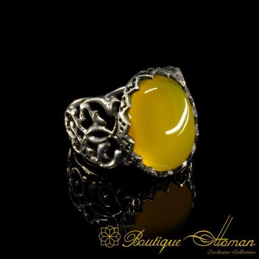 Yellow Aqeeq Ring Silver Handmade Original
