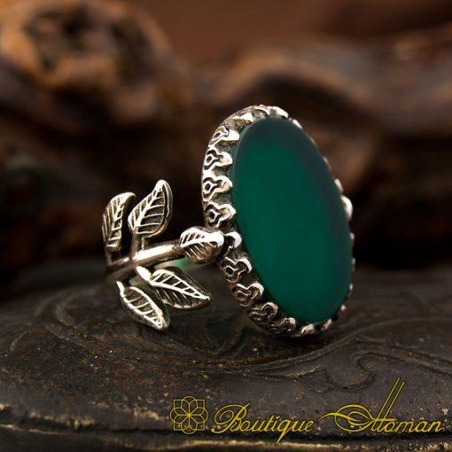 Green Aqeeq Hand Made Women Ring - BOW-1100