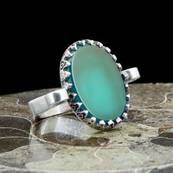 Green Aqeeq Hand Made Simple Women Ring