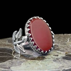 Red Aqeeq Hand Made Women Flower Ring