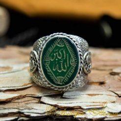 Allahu Akbar الله أكبر Takbir Green Aqeeq Handmade Ring-2