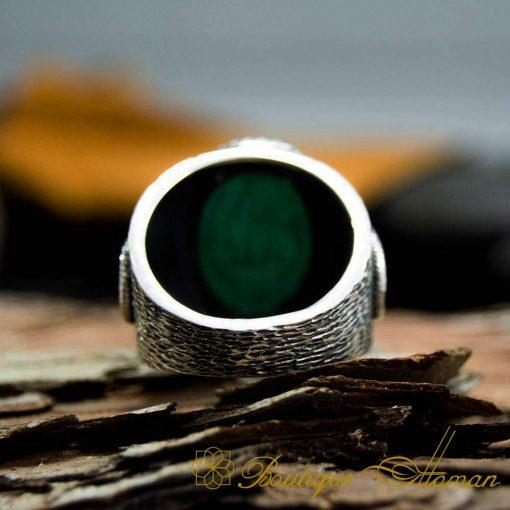 Allahu Akbar الله أكبر Takbir Green Aqeeq Handmade Ring-4