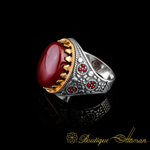 Red Liver Aqeeq Agate Stone Ring