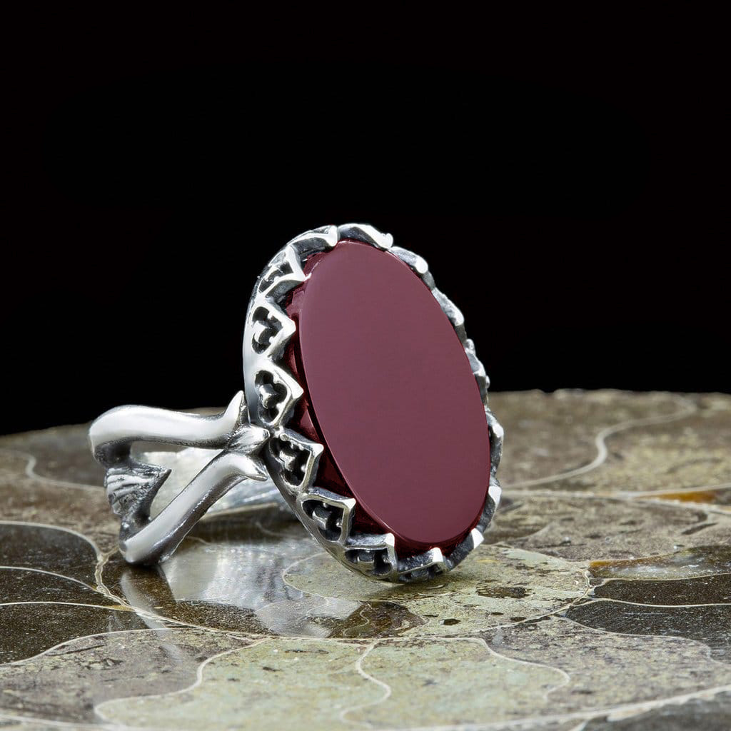 Red Aqeeq Hand Made Women Ring Boutique Ottoman Exclusive