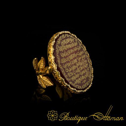 Ayat Al Kursi Yemeni Aqeeq Women Ring Gold-6