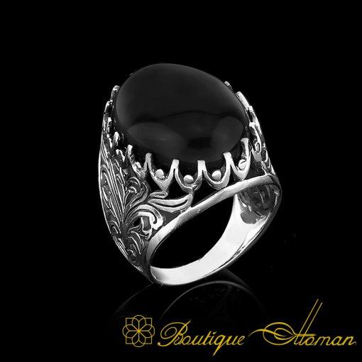 Big Size Black Aqeeq Onyx Oval Aqeeq Silver Classic Ring