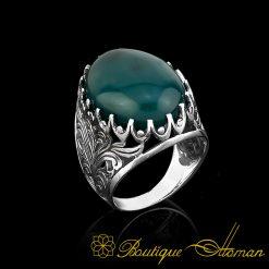 Big Size Green Oval Aqeeq Silver Classic Ring