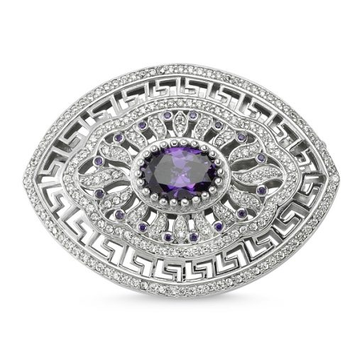 Cubic Zirconia Swarovski Brooch by Boutique Ottoman Exclusive Silver Brooches and Pins Collection BOW-8026