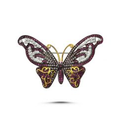 Cubic Zirconia Swarovski Butterfly Brooch by Boutique Ottoman Exclusive Silver Brooches and Pins Collection BOW-8033