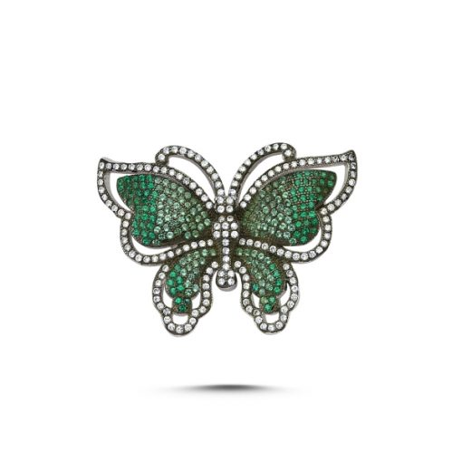 Cubic Zirconia Swarovski Butterfly Brooch by Boutique Ottoman Exclusive Silver Brooches and Pins Collection BOW-8038