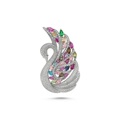 Cubic Zirconia Swarovski Colorful Stone Brooch by Boutique Ottoman Exclusive Silver Brooches and Pins Collection BOW-8048