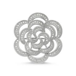 Cubic Zirconia Swarovski Flower Design Brooch by Boutique Ottoman Exclusive Silver Brooches and Pins Collection BOW-8096