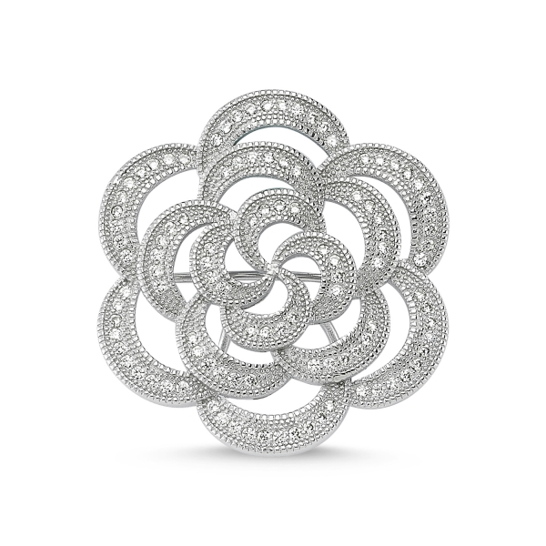 Cubic Zirconia Swarovski Flower Design Brooch by Boutique Ottoman Exclusive  Silver Brooches and Pins Collection BOW 32aa47a86b
