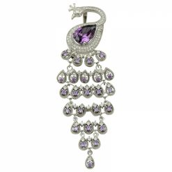 Cubic Zirconia Swarovski Peacock Brooch by Boutique Ottoman Exclusive Silver Brooches and Pins Collection BOW-8032